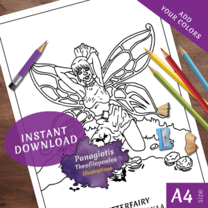 Cute ButterFairy Coloring Page Fantasy Printable Download by Panagiotis Theofilopoulos