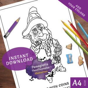Dwarf Coloring Page Fantasy Printable Download by Panagiotis Theofilopoulos