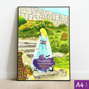 Original Artwork: Blue Princess, A4 size by Panagiotis Theofilopoulos