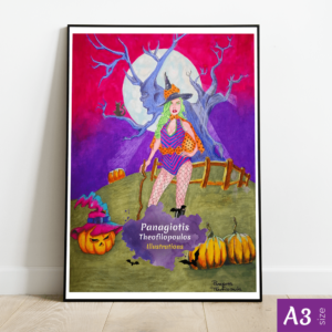 Original Artwork: Halloween Witch, A3 size by Panagiotis Theofilopoulos