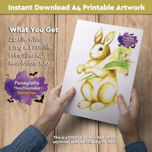 "Instant Download A4 Printable Artwork with the ""Easter Bunny"" handmade by fantasy artist, Panagiotis Theofilopoulos, available for instant download! All you need is just a printer."