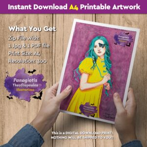 "Instant Download A4 Printable Artwork with the ""Lady Yellow"" handmade by fantasy artist, Panagiotis Theofilopoulos, available for instant download! All you need is just a printer."