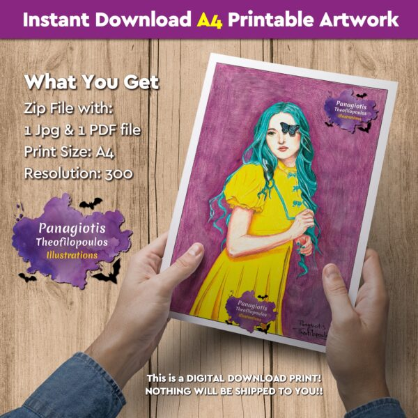 """Instant Download A4 Printable Artwork with the """"Lady Yellow"""" handmade by fantasy artist, Panagiotis Theofilopoulos, available for instant download! All you need is just a printer."""