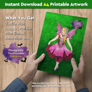"Instant Download A4 Printable Artwork with the ""Purple Fairy"" handmade by fantasy artist, Panagiotis Theofilopoulos, available for instant download! All you need is just a printer."