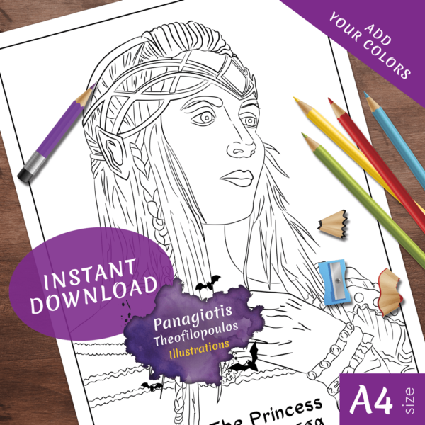 The Princess - Coloring Pages Fantasy Printable Download by Panagiotis Theofilopoulos